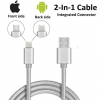 2 in 1 Nylon Braided Certified Lightning Cable 5 FT USB Charger for iPhone and Android